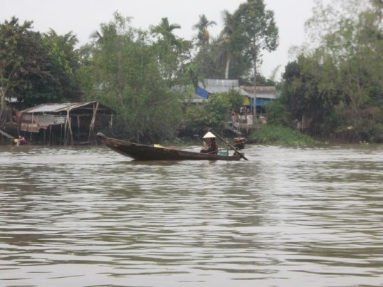 A business day in the Mekong Delta.  Water utterly dominates the entire southeastern part of Vietnam.