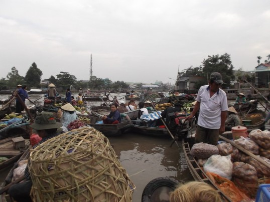 One of the infinite number of semi-planned but still random floating markets.  Near Can Tho, Mekong Delta.